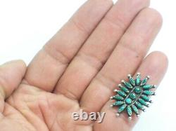 Vintage Zuni Native American Sterling Silver & Green Needle Point Turquoise Ring