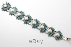 Vintage Zuni Sterling Silver Needlepoint Turquoise Bracelet