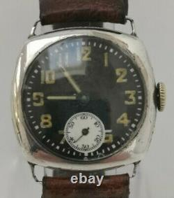 Vtg 1929 Glasgow Solid Sterling Silver Officers Trench Style Black Faced Watch