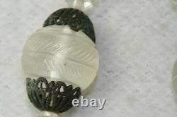 Vtg Antique 1920's French Lalique Frosted Satin Glass Sterling Silver Necklace
