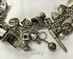 Vtg Antique Sterling Silver 925 Bracelet 44 CHARMS Puffy Heart Padlock Lampl 59g