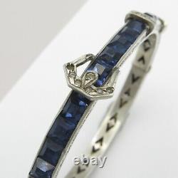 Vtg Art Deco Sterling Silver Channel Set Blue Glass Paste Buckle Bangle Bracelet