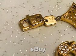 Vtg Estate Louis Vuitton Gold Sterling Silver Chain Monogram Blossom Bracelet