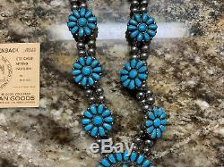 Vtg. Handmade Navajo Turquoise & Sterling Silver Squash blossom Necklace with Cuff