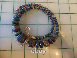 Vtg Jay King DTR sterling silver Rainbow Calsilica Mine Finds graduated necklace