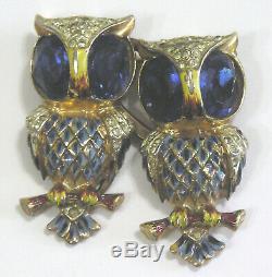 Vtg Jewelry CORO DUETTE OWLS Sterling Silver Brooch Fur Clip Enamel Rhinestones
