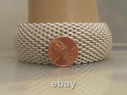 Vtg Wide Tiffany & Co. Somerset Sterling Silver mesh bangle bracelet HEAVY 120g