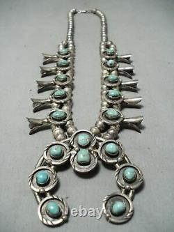 Women's Vintage Navajo Royston Turquoise Sterling Silver Squash Blossom Necklace