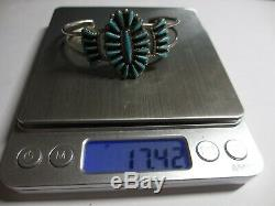 Xfine Early Vintage Signed Zuni Sterling & Turquoise Petit Point Cuff Bracelet