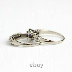 0.80 Ct Vintage Sapphire & Diamond Wedding Bridal Set Rings 14k White Gold Over