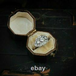 1.20 Ct Round Diamond Art Déco Vintage Engagement Ring 14k White Gold Over