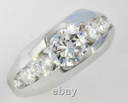 1.35 Ct 14k Or Blanc Over Round-cut Diamond Men's Deco Style Ring Top Vintage
