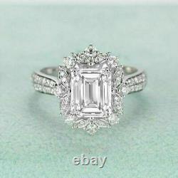 1.50 Ct Emerald Cut Diamond Halo Vintage Bague De Fiançailles 14k Finition Or Blanc