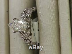 1.50 Ct Poire Coupe De Fiançailles En Diamants Vintage Nuptiaux 14k Or Blanc Plus