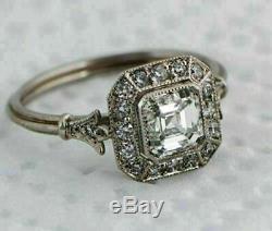 1.5ct Diamant Asscher Art Déco Vintage Bague De Fiançailles En Or Blanc Plus