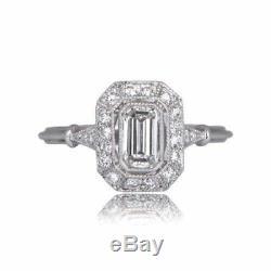 1.80ct Antique Art Déco Emerald Cut Bague De Fiançailles Diamant Argent 925
