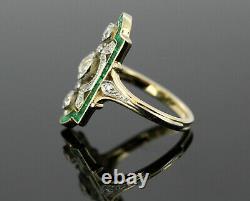 1.80ct Blanc Rond Diamant Vintage Art Déco Antique Anneau 14k Or Jaune Finition