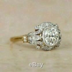 1,85 Ct Diamant Rond Vintage Bezel Bague De Fiançailles De Remorquage Ton 14k Or Sur