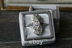 1,86 Ct Diamant Saphir Bague En Argent Sterling 925 Art Deco Vintage Filigrane Bague