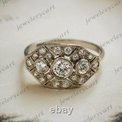 1 Ct Round Diamond Vintage Edwardian Antique Engagement Art Déco Cluster Ring
