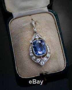 12,47 Ct Blue Diamond Sapphire & Round Vintage Art Déco Pendentif