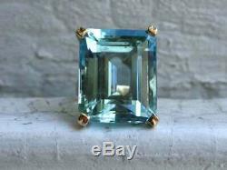 14 Ct Solitaire Emerald Cut Aquamarine Fiançailles Vintage Bague En Or Rose 14k Gp