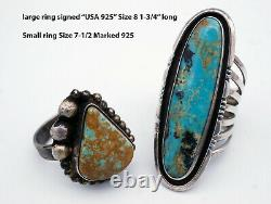 14 Vintage Native American Sterling Silver Turquoise Ring Boucles D'oreilles 148 Grammes