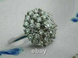 14k Or Blanc Finition 2.00 Ct Rond Diamant Vintage Femmes Cocktail Cluster Ring