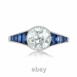 14k Or Blanc Sur 2 Ct Coupe Ronde Diamond Vintage Fiançailles Femmes Anneau De Mariage