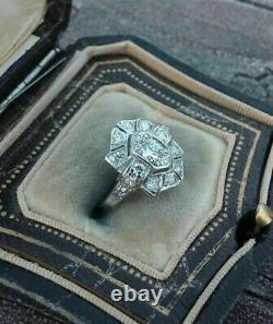 14k Or Blanc Sur Antique Vintage Art Déco Wedding Estate Ring 1,5 Ct Diamond