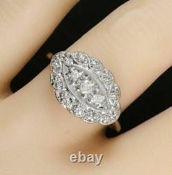 14k Or Blanc Sur Fiançailles Antique Vintage Retro Ring 2,66 Ct Round Diamond
