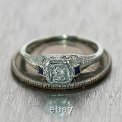 14k Or Blanc Sur Vintage Art Déco Antique Bague De Fiançailles 1 Ct Diamond