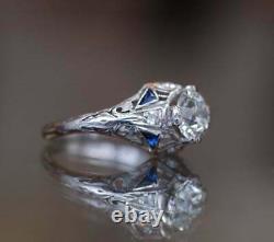 14k Or Blanc Sur Vintage Geometric Late Art Deco Milgrain Anneau 1.5ct Diamond