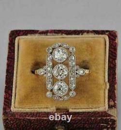 14k Or Jaune Finition 1.80ct Blanc Rond Diamant Vintage Art Déco Antique Anneau