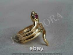 14k Or Jaune Finition Rouge Ruby Cocktail Diamant Coupe Femme Vintage Snake Ring
