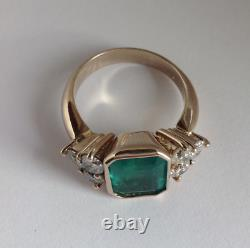 14k Or Jaune Plus De 2.50ct Emerald Cut Green Emerald Antique Vintage Ring