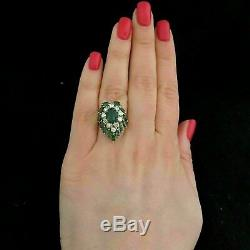 14k Or Jaune Plus De 4,00 Ct Emerald & Diamant Vintage Bague Cocktail