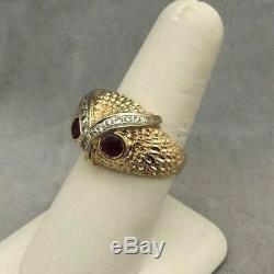 14k Or Jaune Plus Vintage Owl Head Ruby Domaine De Diamant Mens Pinky Anneau
