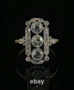 14k Or Jaune Sur 1.85ct Blanc Rond Diamant Vintage Art Déco Antique Anneau