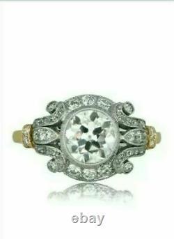 14k Or Jaune Sur Vieille Fiançailles Art Déco Anneau 1.54 Ct Diamant