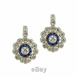 14k Or Sur Antique Vintage Art Déco Florale 4.0ctw Diamant Halo Boucles D'oreilles
