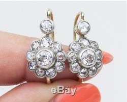 14k Or Sur Victorien Vintage Art Déco Florale 3.21ctw Diamant Halo Boucles D'oreilles