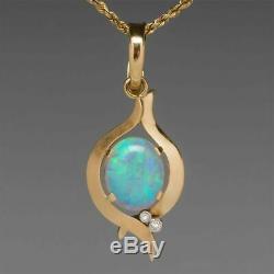 14k Vintage Jaune Or Sur 18 1.50ct Pendentif Chaîne Collier Opale Et Diamant