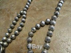 16 1/2 Fine Vintage Argent Sterling Navajo Turquoise La Main Collier De Perles