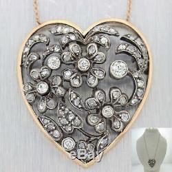 1880. Antique Victorian Coeur De Diamant Collier En Or Rose 14k En Argent Sterling J8