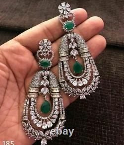 1899's Egypt Style Art Déco Vintage Old Cut Emerald & Old Cz 32.24ctw Boucles D'oreilles