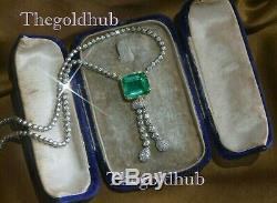 18k Or Blanc Diamant Émeraude Plus Collier Vintage Pendentif Énorme Boîte 13,61 Cts