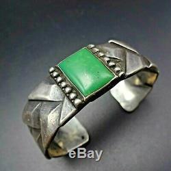 1920 Rare Vintage Cast Navajo Tissé Sterling Manchette En Argent Turquoise Bracelet