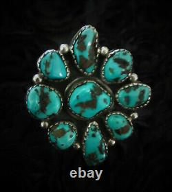 1950 Vintage Old Pawn Navajo 925 Argent Sterling Blue Turquoise Fleur Ring 8