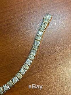 1960 Vintage Diamant Tennis 7,5 Pouces Bracelet 6 Carats Totale 18k Plus